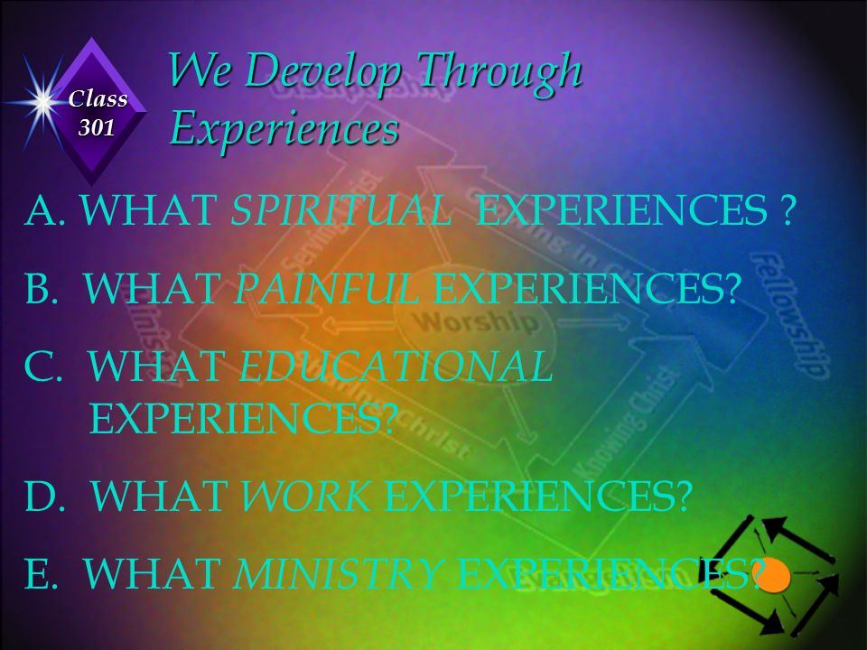 Class 301 We Develop Through Experiences A. WHAT SPIRITUAL EXPERIENCES ? B. WHAT PAINFUL EXPERIENCES? C. WHAT EDUCATIONAL EXPERIENCES? D. WHAT WORK EX