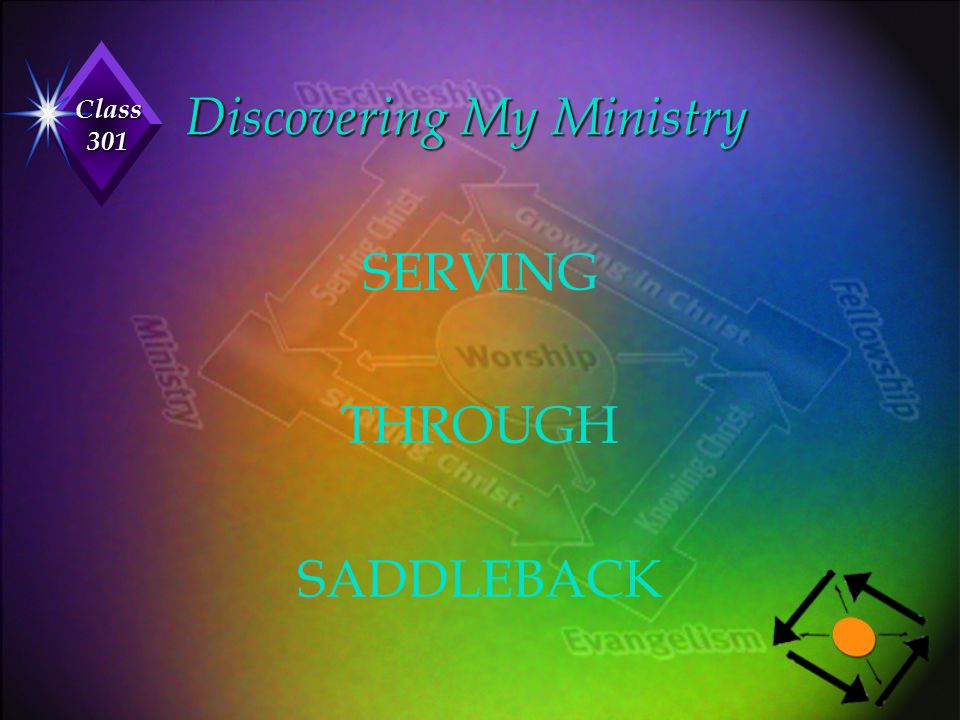 Class 301 Discovering My Ministry SERVING THROUGH SADDLEBACK