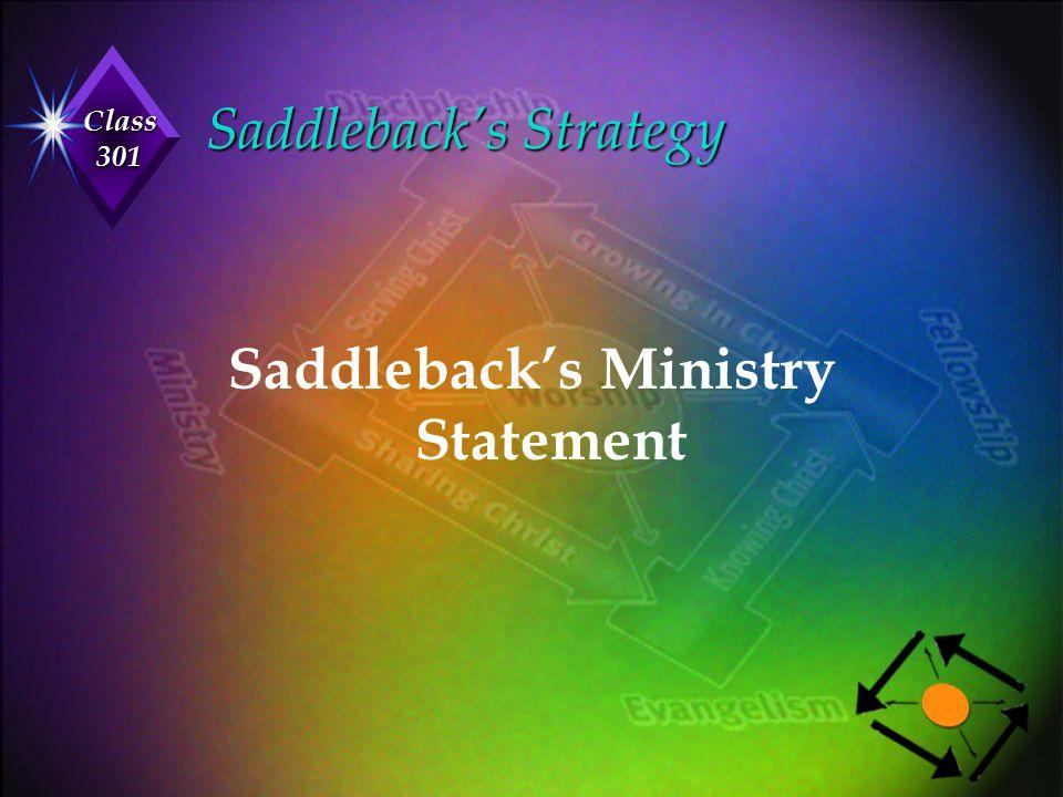 Class 301 Saddleback's Strategy Saddleback's Ministry Statement