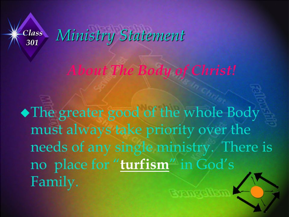 Class 301 Ministry Statement About The Body of Christ! u The greater good of the whole Body must always take priority over the needs of any single min