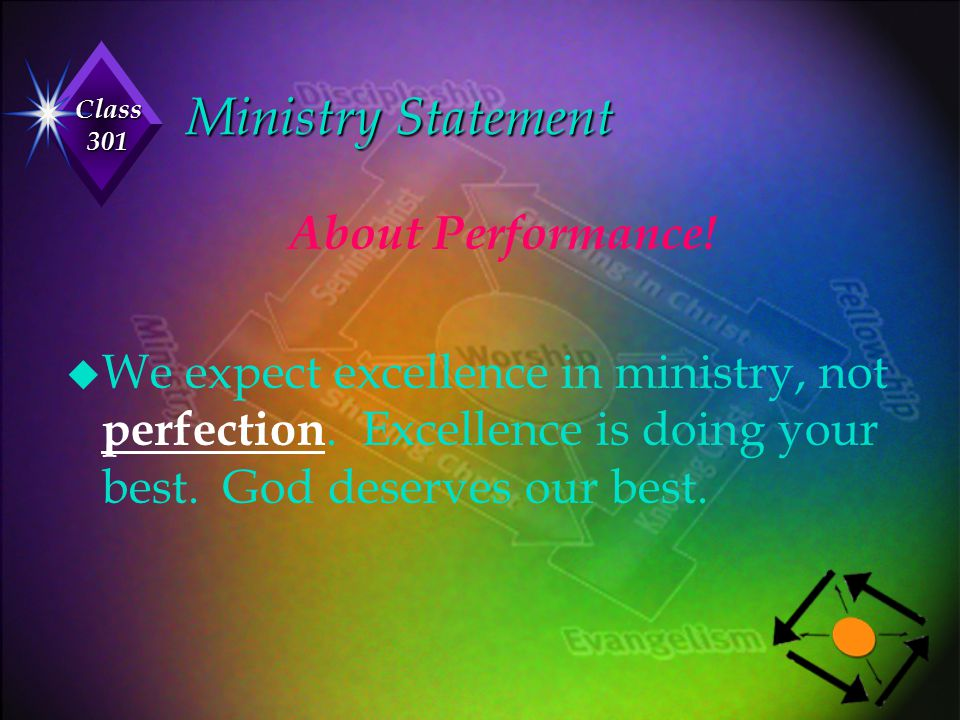 Class 301 Ministry Statement About Performance! u We expect excellence in ministry, not perfection. Excellence is doing your best. God deserves our be