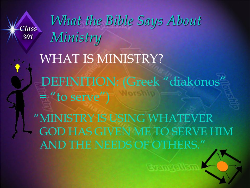 """Class 301 What the Bible Says About Ministry WHAT IS MINISTRY? DEFINITION: (Greek """"diakonos"""" = """"to serve"""") """"MINISTRY IS USING WHATEVER GOD HAS GIVEN M"""
