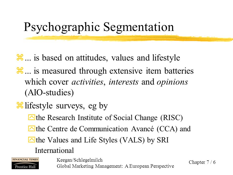 """Keegan/Schlegelmilch Global Marketing Management: A European Perspective Chapter 7 / 7 Psychographic Profiles of Porsche's American Customers Category % of all owners Top Guns 27% Driven and ambitious; care about power and control; expect to be noticed Elitists24% Old money; a car—even an expensive one—is just a car, not an extension of one's personality Proud Patrons23% Ownership is what counts; a car is a trophy, a reward for working hard; being noticed doesn't matter Bon Vivants17% Cosmopolitan jet setters and thrill seekers; car heightens excitement Fantasists9% Car represents a form of escape; don't care about impressing others; may even feel guilty about owning car Description Source: ALEX III Taylor, """"Porsche Slices up its Buyers , Fortune, 16 January 1995, p."""