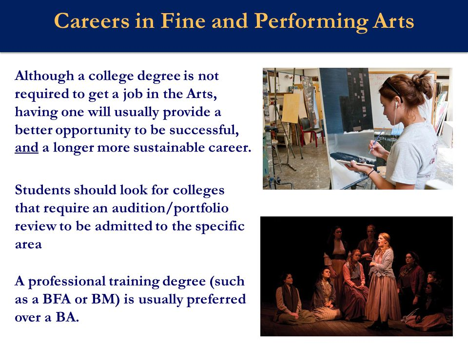 Webster U Careers in the Fine and Performing Arts If there is interest in the business side of fine arts, be sure the school offers programs specifically designed for that career, like Music Business, Commercial Music, or Entertainment Marketing.