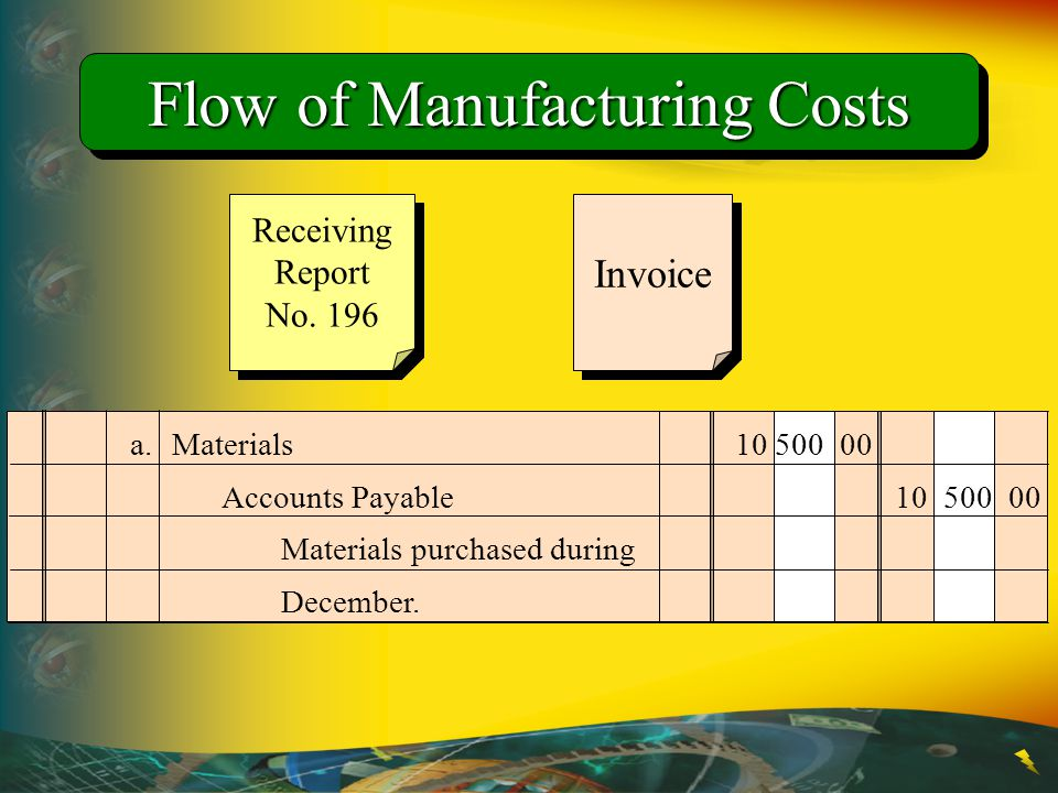 Flow of Manufacturing Costs Invoice a. Materials 10 500 00 Accounts Payable10 500 00 Materials purchased during December. Receiving Report No. 196 Rec