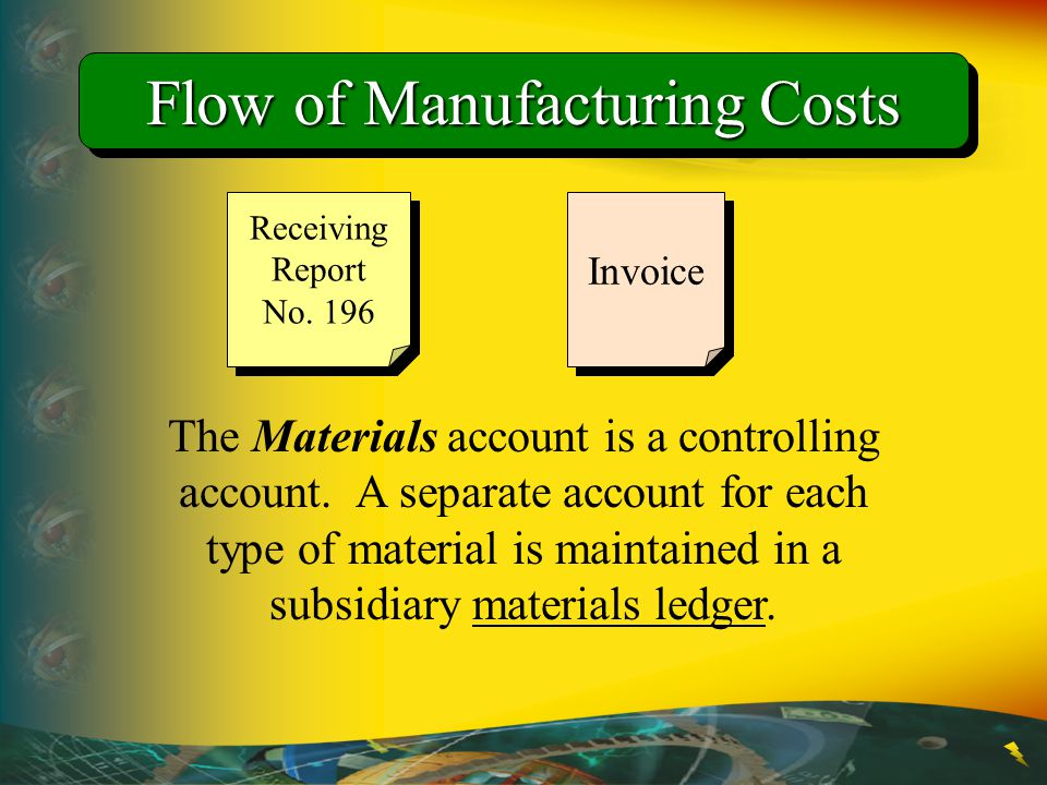 Flow of Manufacturing Costs The Materials account is a controlling account. A separate account for each type of material is maintained in a subsidiary