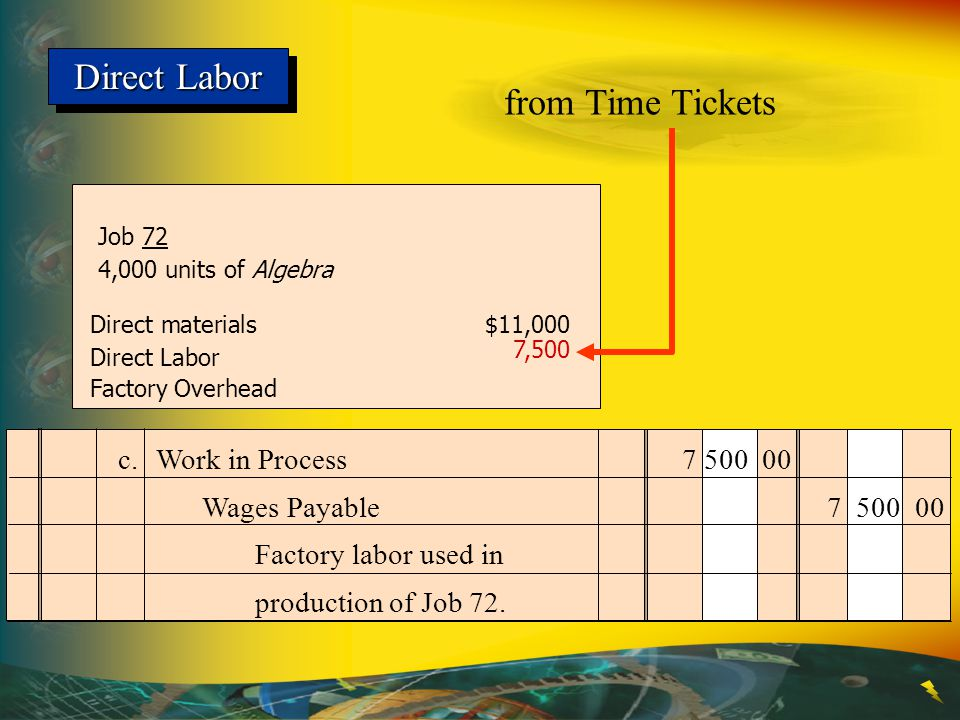 Direct Labor Job 72 4,000 units of Algebra Direct materials$11,000 Direct Labor Factory Overhead from Time Tickets 7,500 The receiving report and the