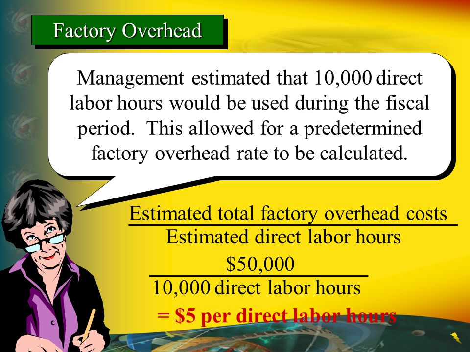 Management estimated that 10,000 direct labor hours would be used during the fiscal period. This allowed for a predetermined factory overhead rate to