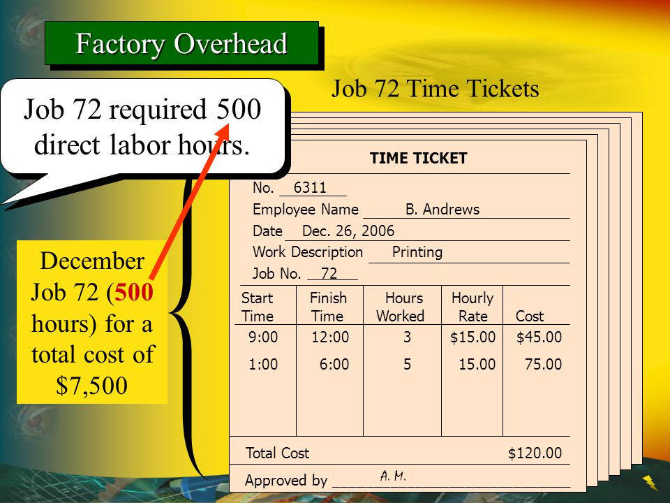 December Job 72 (500 hours) for a total cost of $7,500 TIME TICKET Job 72 Time Tickets No. 6311 Employee Name B. Andrews Date Dec. 26, 2006 Work Descr