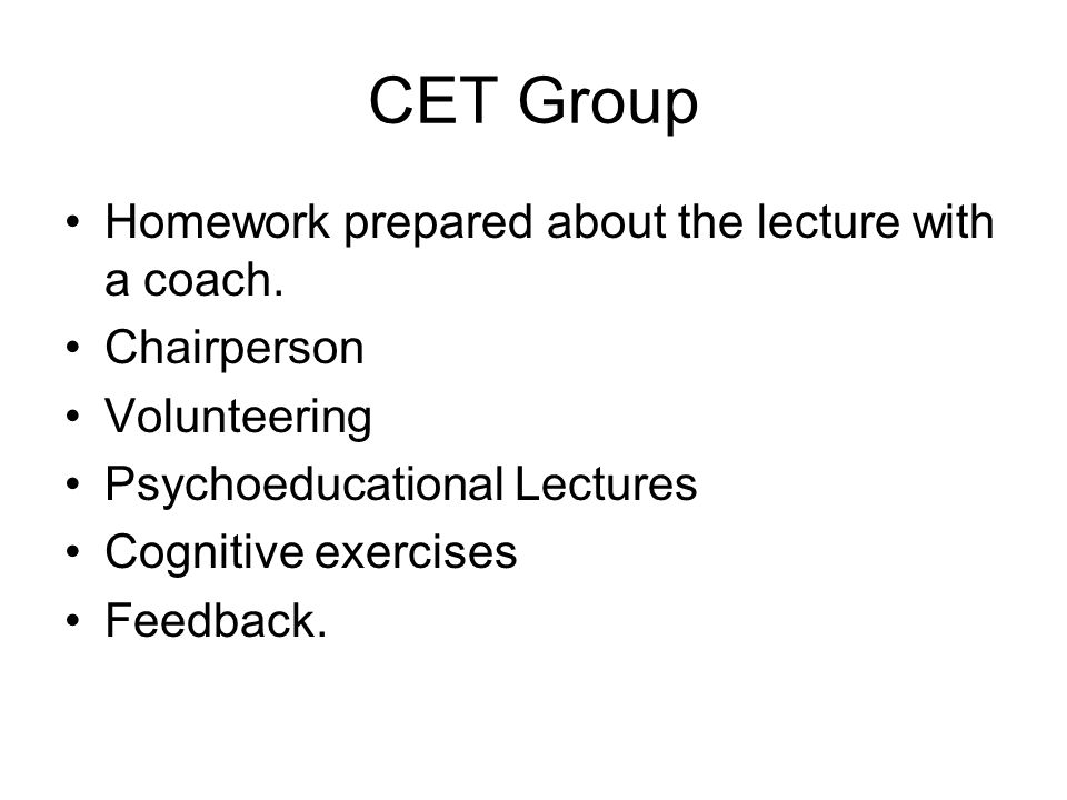 CET Group Homework prepared about the lecture with a coach.