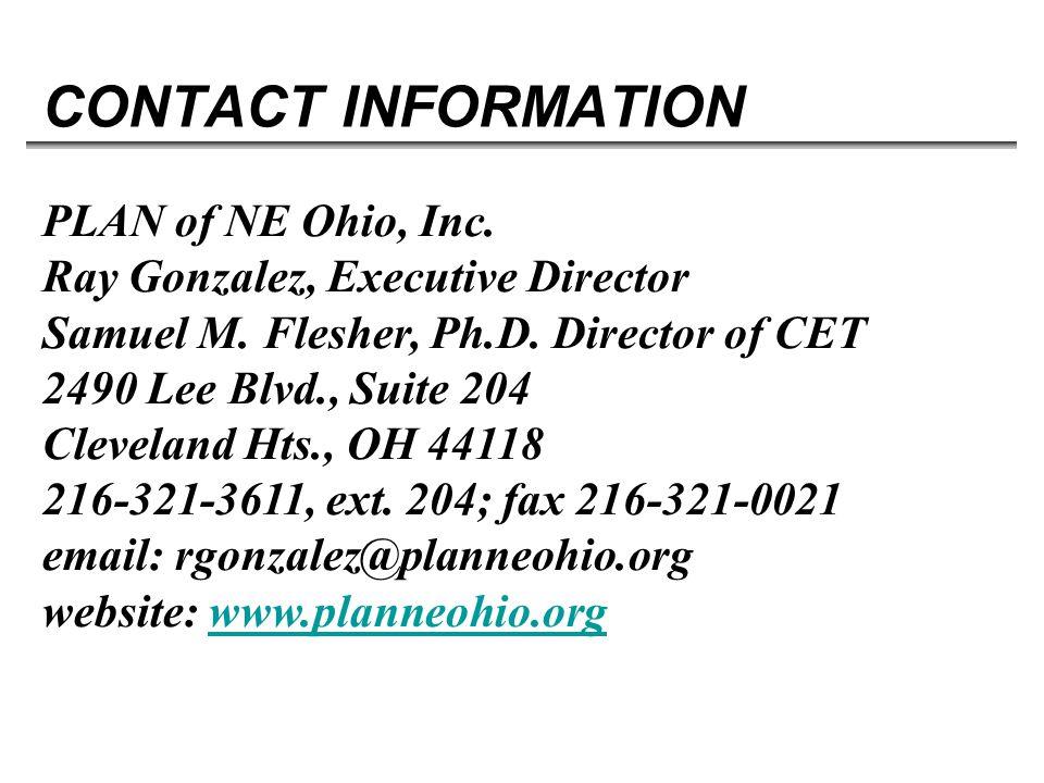 CONTACT INFORMATION PLAN of NE Ohio, Inc. Ray Gonzalez, Executive Director Samuel M.