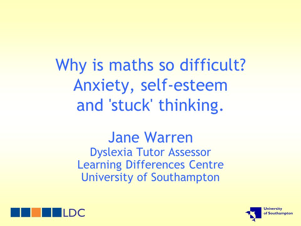 A few statistics 93% 12.6% 10% 22% 8% 60% People in the US unable to do algebra UK 2004 GCSE cohort who took maths Proportion who gained below grade E US citizens who cannot do arithmetic Girls in the US who do higher maths Dyslexic people who also have difficulty with maths