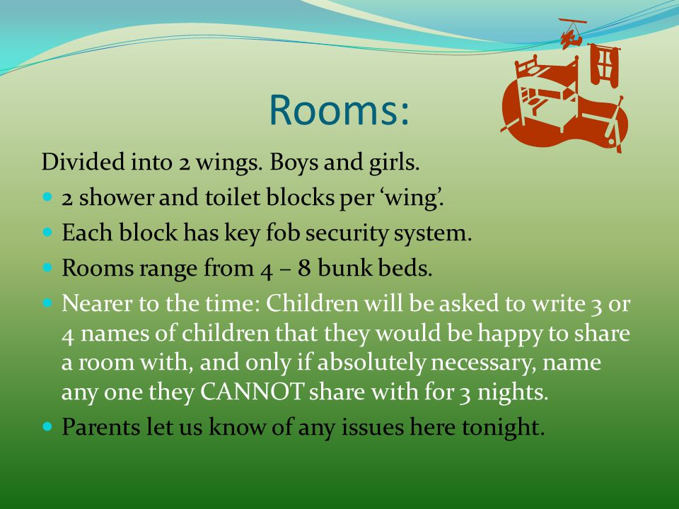Rooms: Divided into 2 wings. Boys and girls. 2 shower and toilet blocks per 'wing'. Each block has key fob security system. Rooms range from 4 – 8 bun