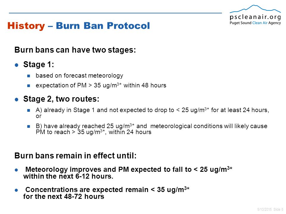 5/10/2015 Slide 6 History – Burn Ban Protocol Burn bans can have two stages: Stage 1: based on forecast meteorology expectation of PM > 35 ug/m 3 * within 48 hours Stage 2, two routes: A) already in Stage 1 and not expected to drop to < 25 ug/m 3 * for at least 24 hours, or B) have already reached 25 ug/m 3 * and meteorological conditions will likely cause PM to reach > 35 ug/m 3 *, within 24 hours Burn bans remain in effect until: Meteorology improves and PM expected to fall to < 25 ug/m 3 * within the next 6-12 hours.