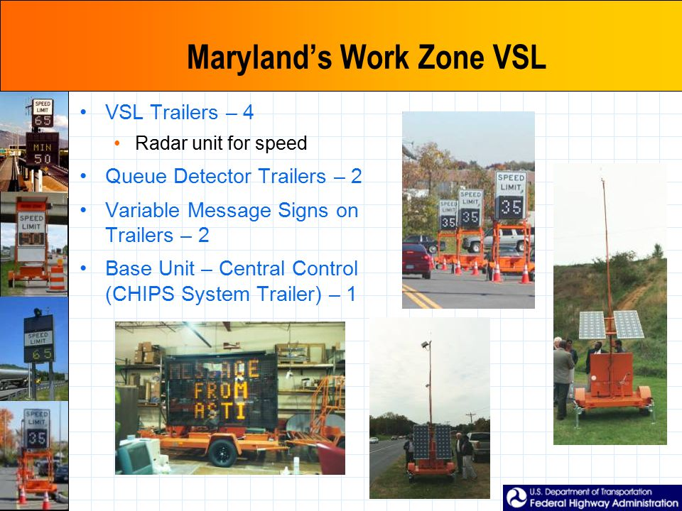 Maryland's Work Zone VSL VSL Trailers – 4 Radar unit for speed Queue Detector Trailers – 2 Variable Message Signs on Trailers – 2 Base Unit – Central
