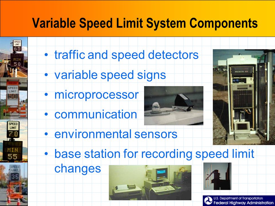Variable Speed Limit System Components traffic and speed detectors variable speed signs microprocessor communication environmental sensors base station for recording speed limit changes