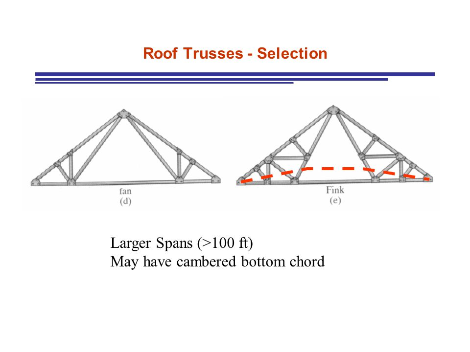 Roof Trusses - Selection Larger Spans (>100 ft) May have cambered bottom chord
