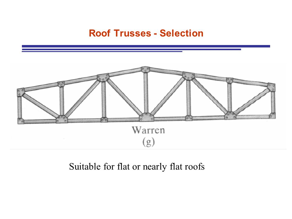 Roof Trusses - Selection Suitable for flat or nearly flat roofs