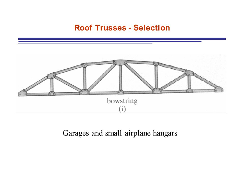 Roof Trusses - Selection Garages and small airplane hangars