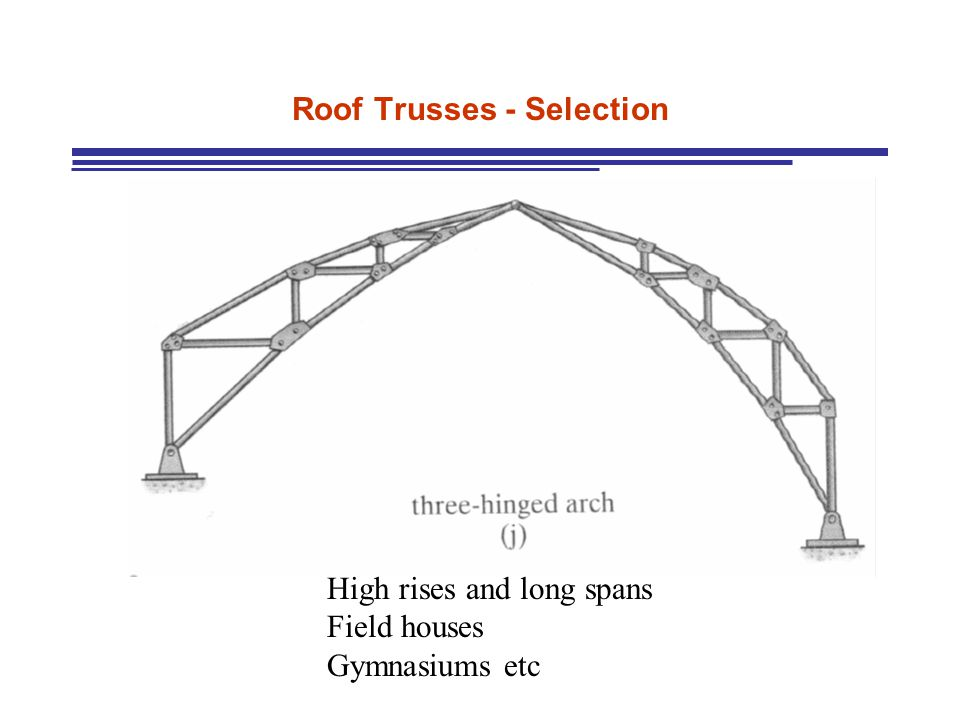Roof Trusses - Selection High rises and long spans Field houses Gymnasiums etc