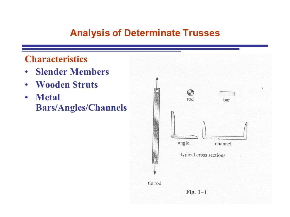 Analysis of Determinate Trusses Characteristics Slender Members Wooden Struts Metal Bars/Angles/Channels