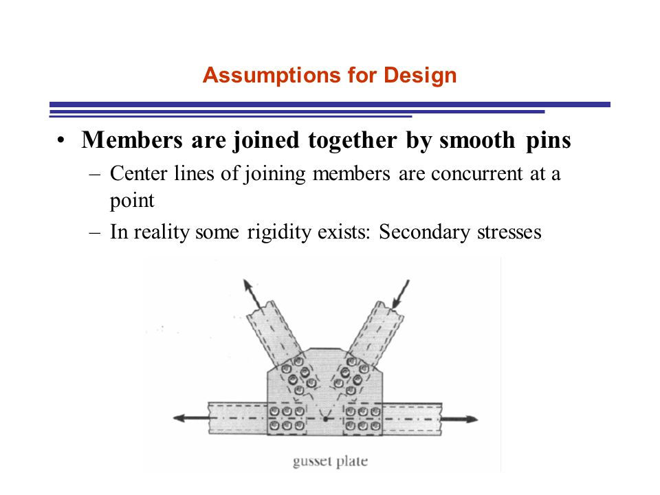 Assumptions for Design Members are joined together by smooth pins –Center lines of joining members are concurrent at a point –In reality some rigidity exists: Secondary stresses