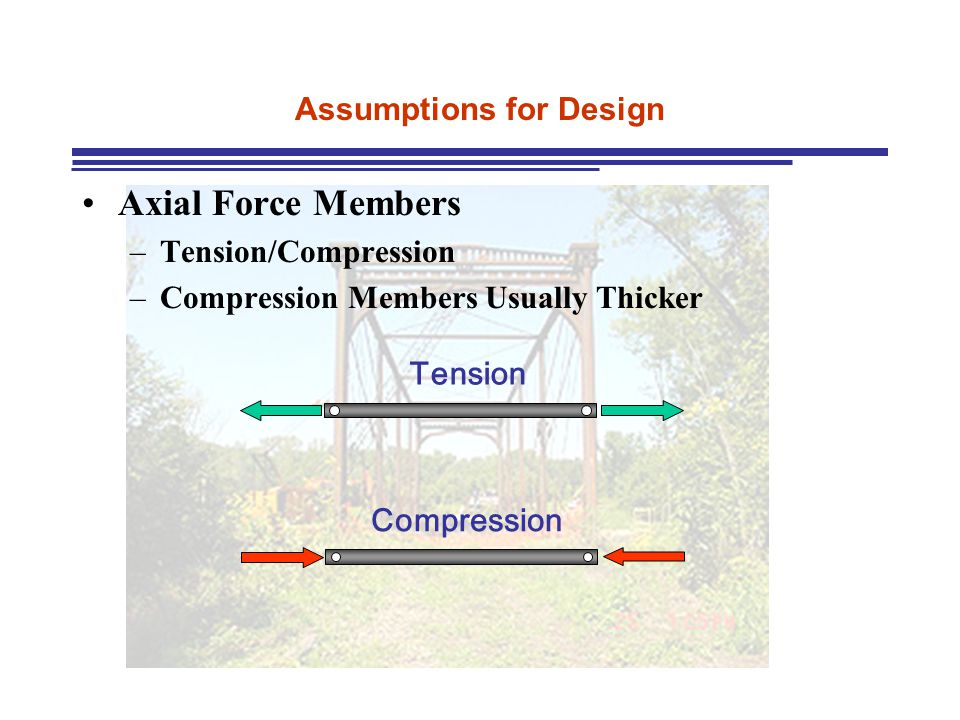 Assumptions for Design Axial Force Members –Tension/Compression –Compression Members Usually Thicker Tension Compression