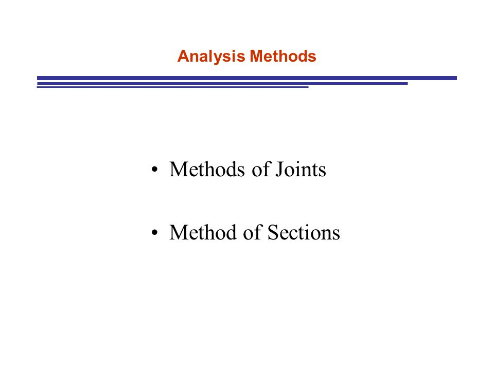 Analysis Methods Methods of Joints Method of Sections