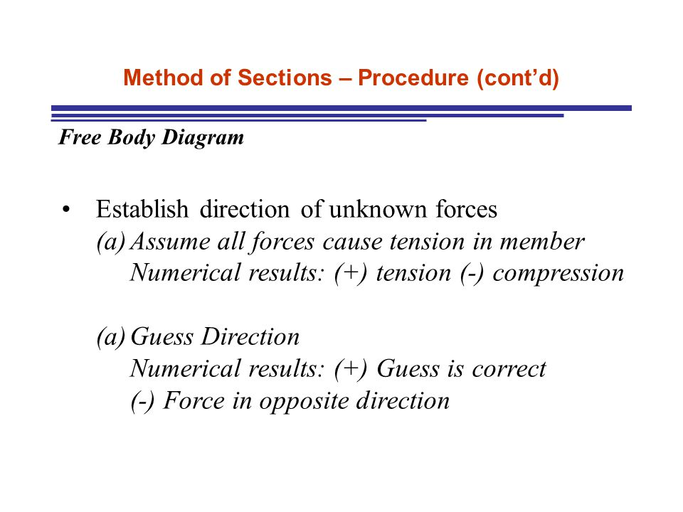 Method of Sections – Procedure (cont'd) Free Body Diagram Establish direction of unknown forces (a)Assume all forces cause tension in member Numerical results: (+) tension (-) compression (a)Guess Direction Numerical results: (+) Guess is correct (-) Force in opposite direction