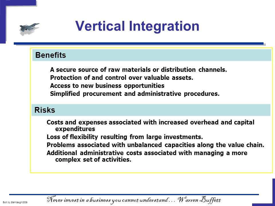 Vertical Integration Built by Stambaugh/2009  A secure source of raw materials or distribution channels.
