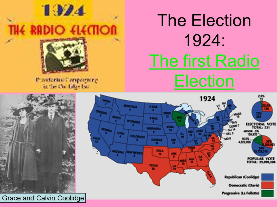 (1)Election of 1924 a.Remember- Harding died… Coolidge finished his term b.Calvin Coolidge: Republican c.John W.