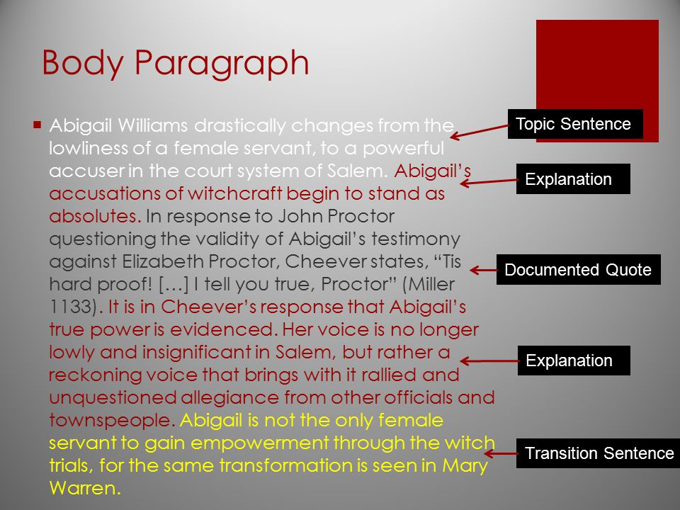 Body Paragraph  Abigail Williams drastically changes from the lowliness of a female servant, to a powerful accuser in the court system of Salem. Abig