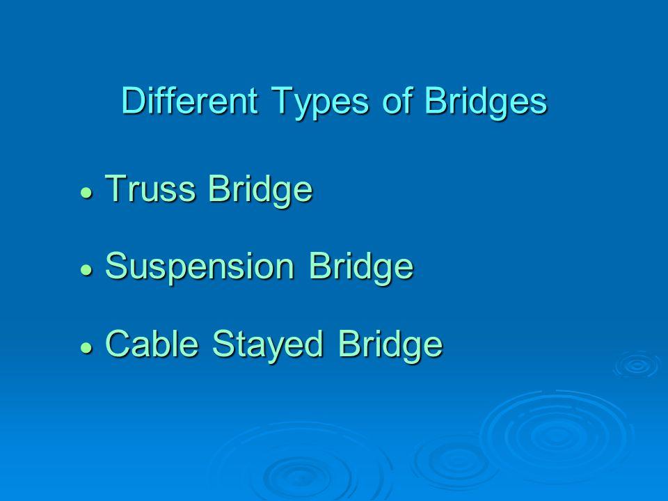 Different Types of Bridges  Truss Bridge  Suspension Bridge  Cable Stayed Bridge
