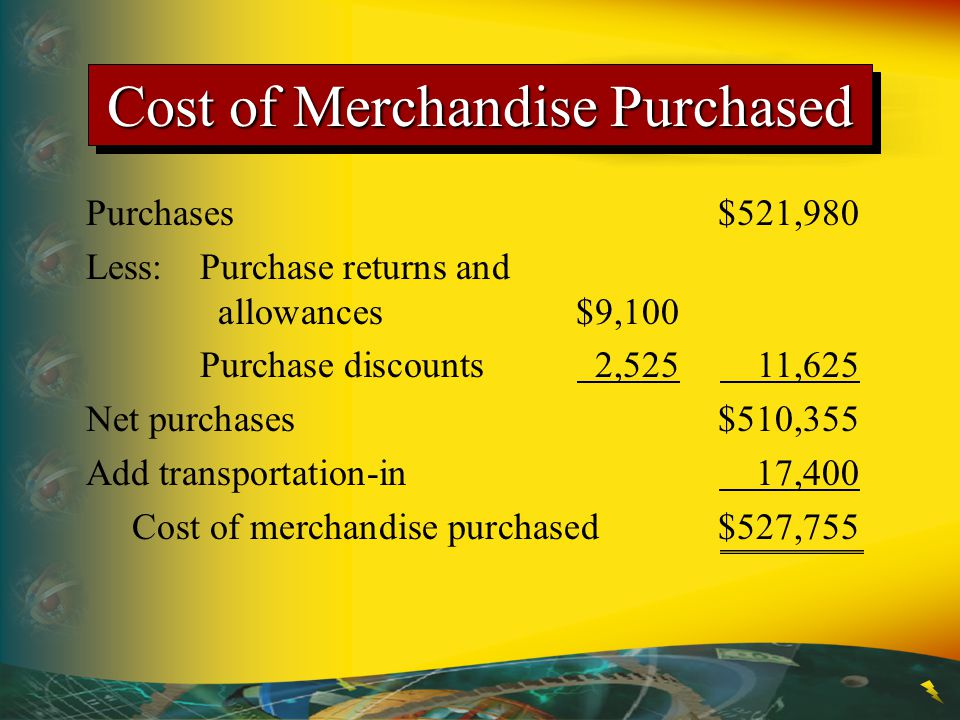 Cost of Merchandise Purchased Purchases$521,980 Less:Purchase returns and allowances$9,100 Purchase discounts 2,525 11,625 Net purchases$510,355 Add transportation-in 17,400 Cost of merchandise purchased$527,755