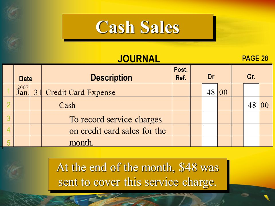 Credit card sales (MasterCard or Visa) are recorded as cash sales.