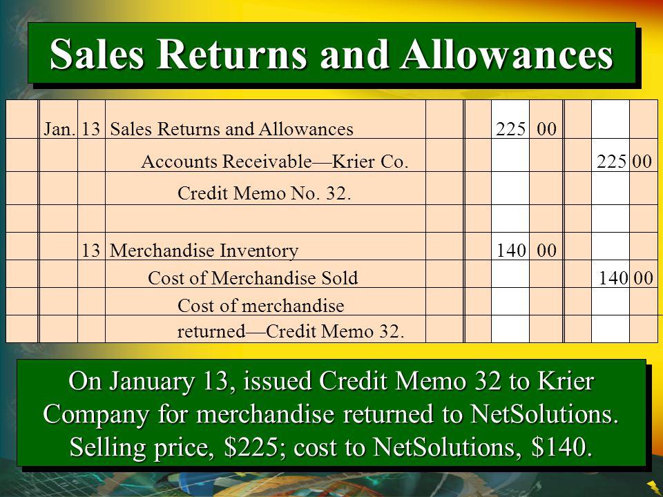 Jan. 13Sales Returns and Allowances 225 00 Credit Memo No. 32. Accounts Receivable—Krier Co. 225 00 13Merchandise Inventory 140 00 Cost of Merchandise