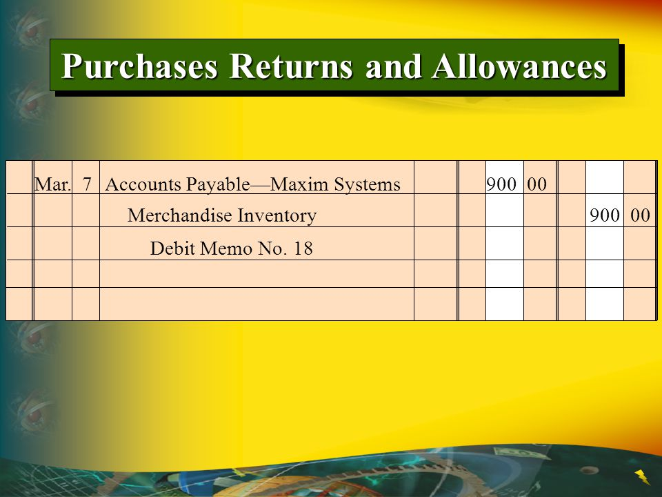Mar. 7Accounts Payable—Maxim Systems 900 00 Debit Memo No. 18 Merchandise Inventory 900 00 Purchases Returns and Allowances