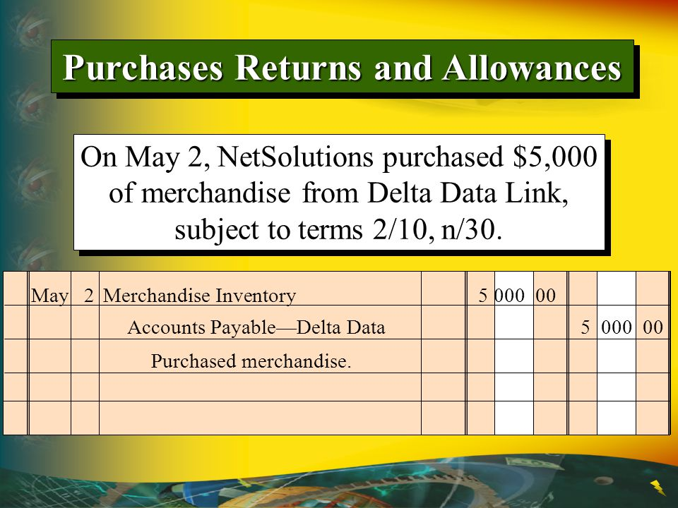 On May 2, NetSolutions purchased $5,000 of merchandise from Delta Data Link, subject to terms 2/10, n/30.
