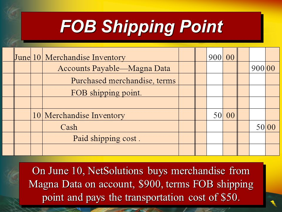 June 10 Merchandise Inventory 900 00 Purchased merchandise, terms FOB shipping point.