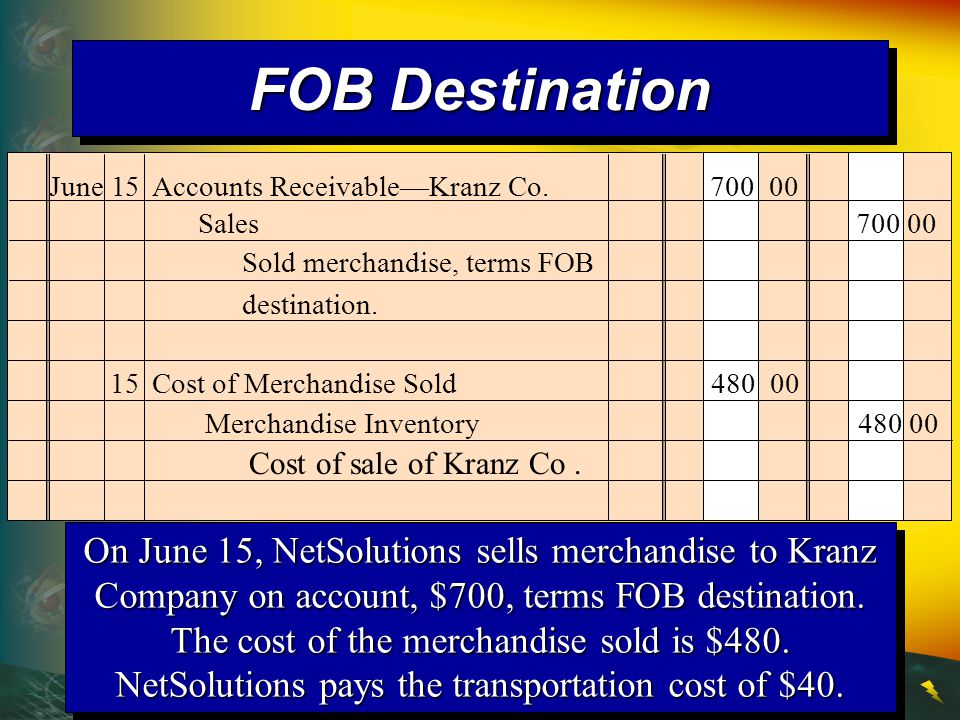 On June 15, NetSolutions sells merchandise to Kranz Company on account, $700, terms FOB destination.