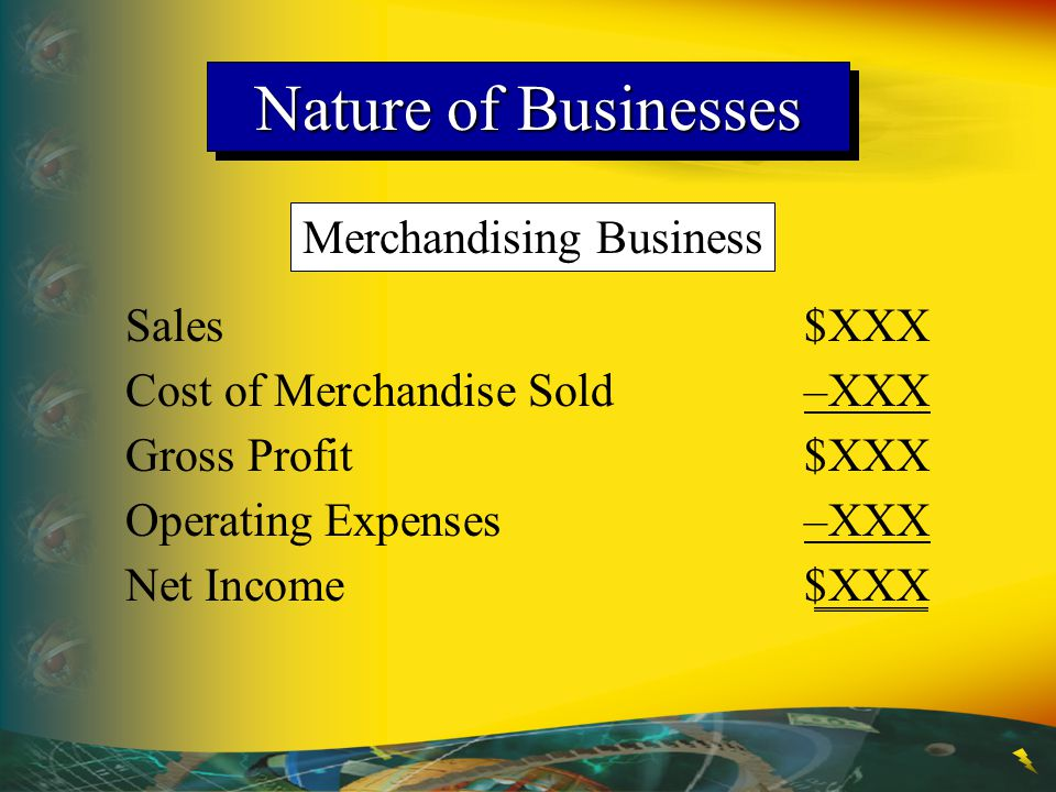 Merchandising Business Sales$XXX Cost of Merchandise Sold–XXX Gross Profit$XXX Operating Expenses–XXX Net Income$XXX Nature of Businesses