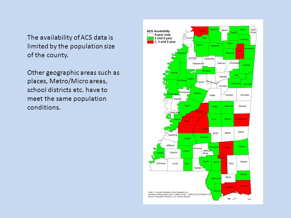 The availability of ACS data is limited by the population size of the county.