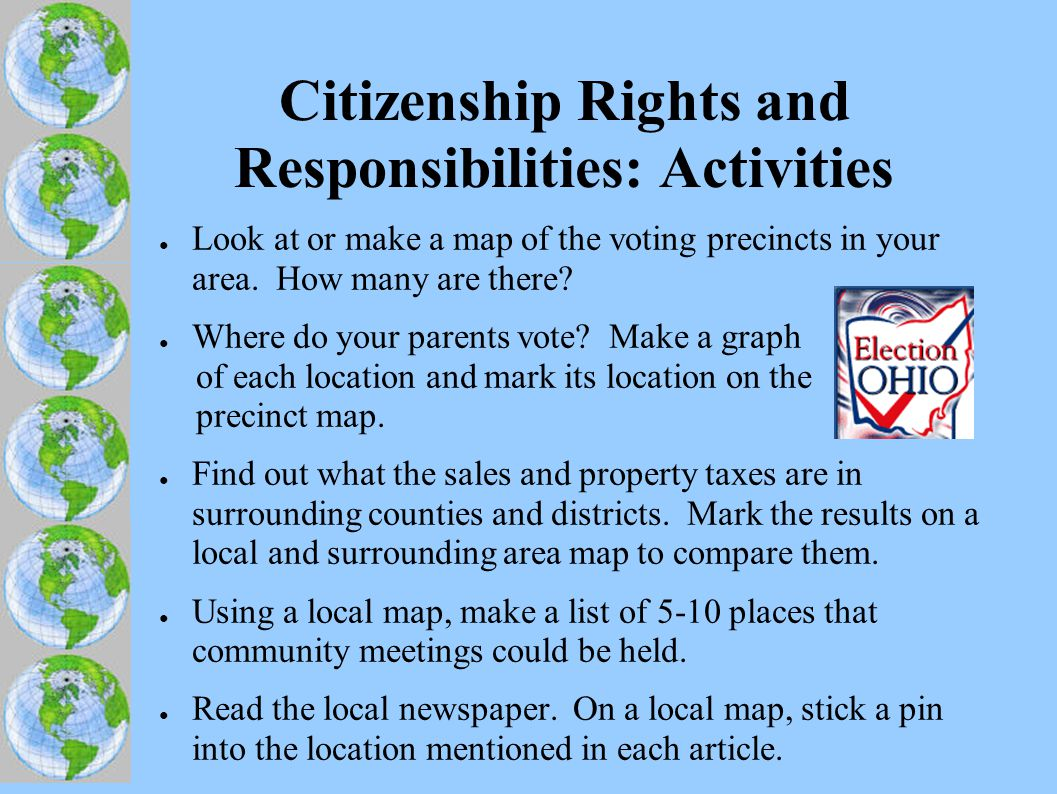 Citizenship Rights and Responsibilities: Activities ● Look at or make a map of the voting precincts in your area.
