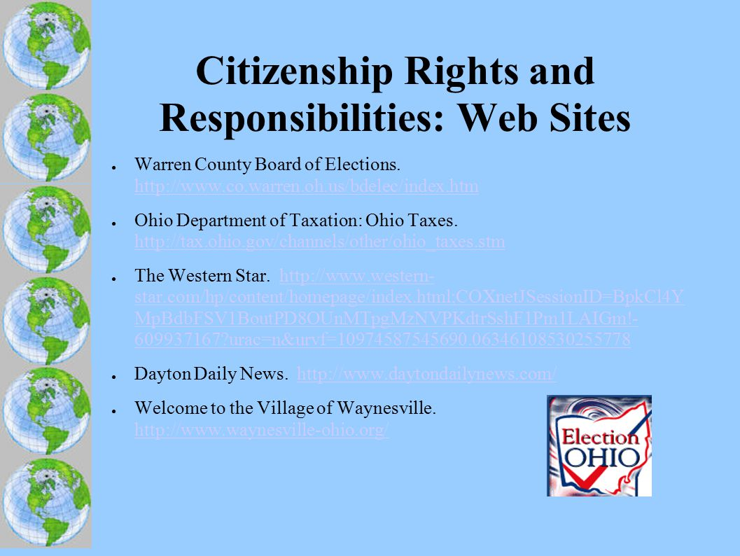 Citizenship Rights and Responsibilities: Web Sites ● Warren County Board of Elections.
