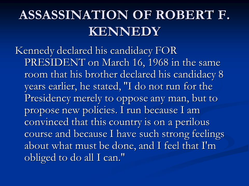 ASSASSINATION OF ROBERT F.