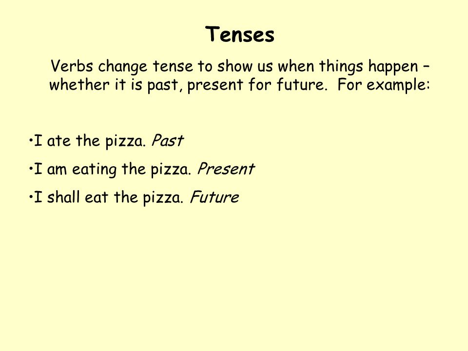 Tenses Verbs change tense to show us when things happen – whether it is past, present for future. For example: I ate the pizza. Past I am eating the p