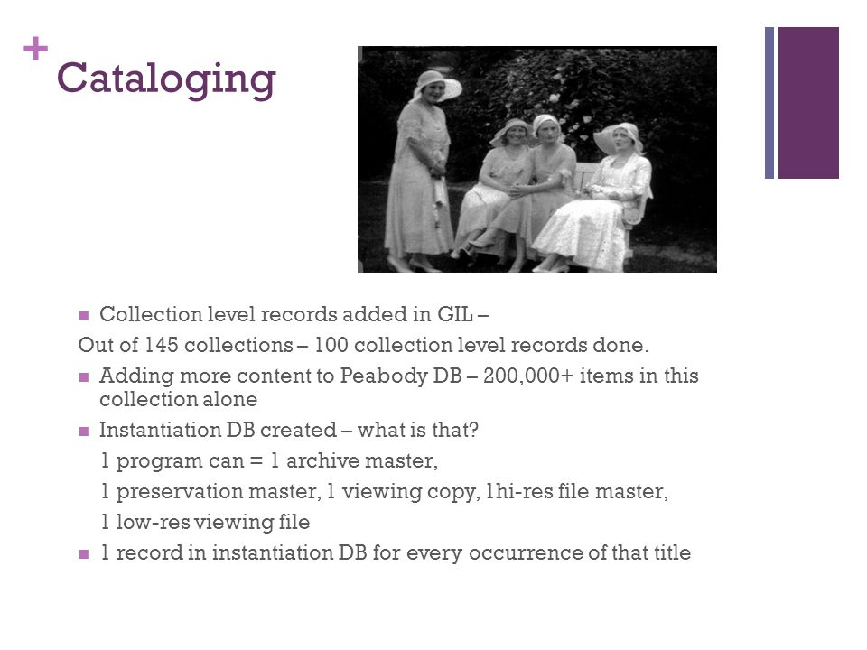 + Cataloging Collection level records added in GIL – Out of 145 collections – 100 collection level records done.