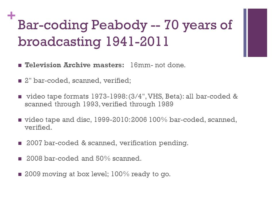 + Bar-coding Peabody -- 70 years of broadcasting 1941-2011 Television Archive masters: 16mm- not done.