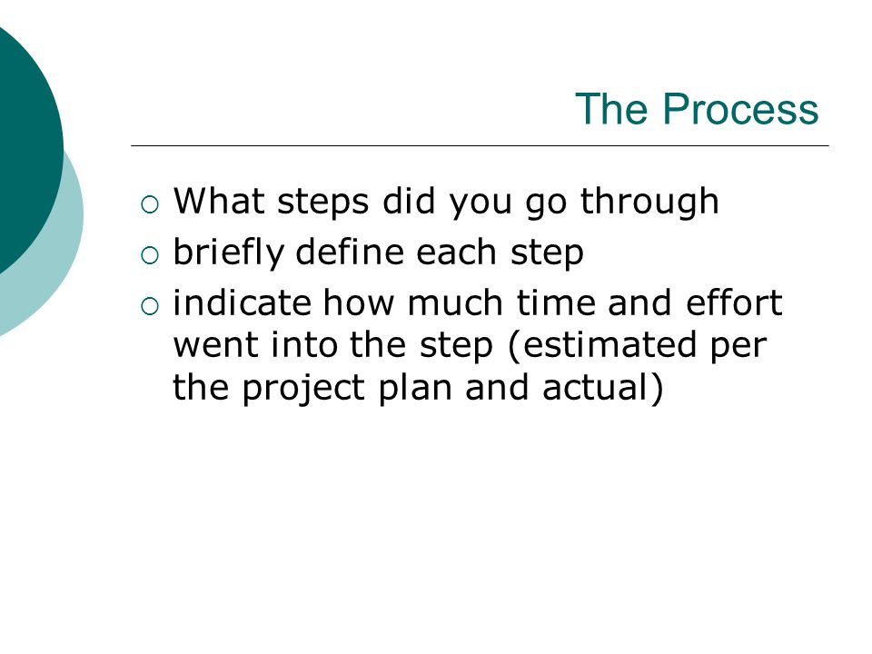 The Process  What steps did you go through  briefly define each step  indicate how much time and effort went into the step (estimated per the project plan and actual)