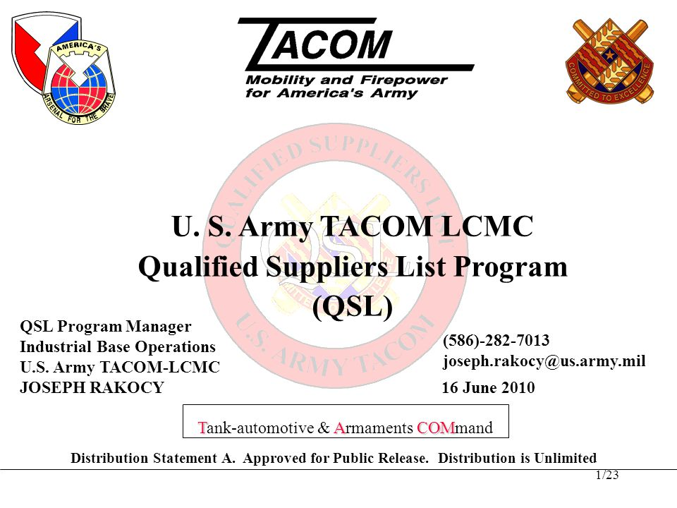 21/23 QSL is a proven business enhancing process –Facilitates acquisition streamlining –Reduces Cycle Time –Reduces/eliminates need for Gov't Source Inspection (GSI) –Evaluates and manages risk –Improves product quality –Reduces life cycle costs Summary Continued Committed to Excellence – Supporting America's Warfighters